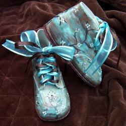 Toddler Shoes Leather Turquoise Brown Painted
